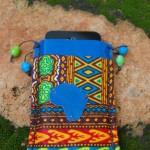 Garment-grade blue leather / African Fabric / Handmade paper beads - Case Handmade by Jen